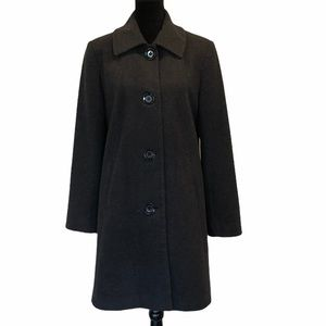 Nautica wool blend button front dark grey coat